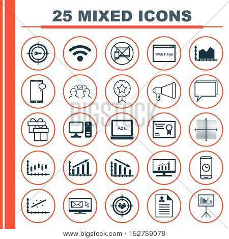 Set Of 25 Universal Editable Icons For Marketing, Statistics And Computer Hardware Topics. Includes