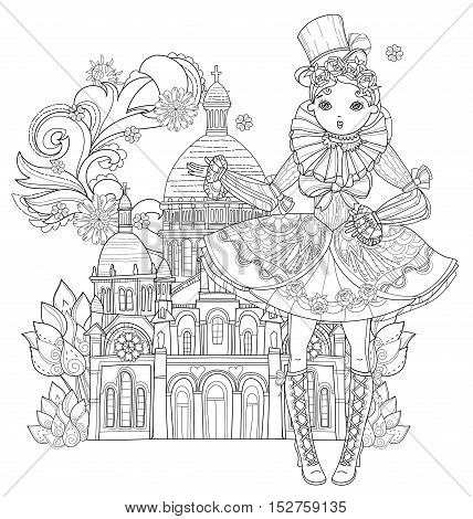 Vector cute fairy gothic lolita girl in nice dress in Paris. Vector line illustration. Sketch for postcard or print or coloring adult book. Boho style. Europe town landscape.