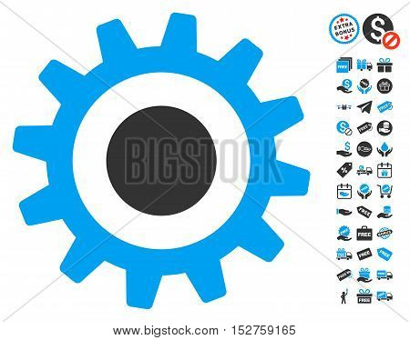 Cogwheel pictograph with free bonus icon set. Vector illustration style is flat iconic symbols, blue and gray colors, white background.