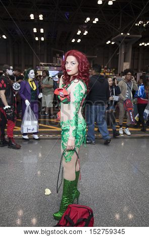 NEW YORK NEW YORK - OCTOBER 9: Woman wearing Poison Ivy costume at NY Comic Con at Jacob K. Javits convention center. Taken October 9 2016 in New York.