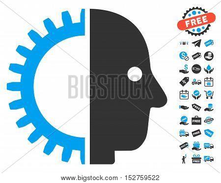 Cyborg Head icon with free bonus symbols. Vector illustration style is flat iconic symbols, blue and gray colors, white background.