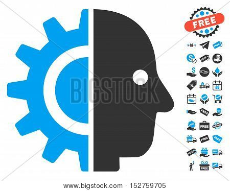 Cyborg Head pictograph with free bonus pictures. Vector illustration style is flat iconic symbols, blue and gray colors, white background.