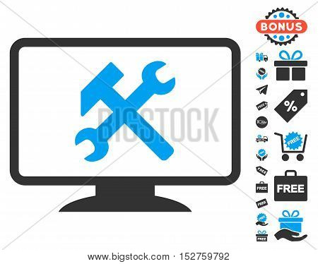 Desktop Settings pictograph with free bonus symbols. Vector illustration style is flat iconic symbols, blue and gray colors, white background.