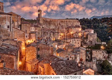 Sorano, Grosseto, Tuscany, Italy: landscape at dawn of the picturesque medieval village on the Tuscan hills