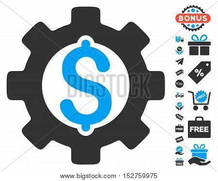 Development Cost icon with free bonus clip art. Vector illustration style is flat iconic symbols, blue and gray colors, white background.