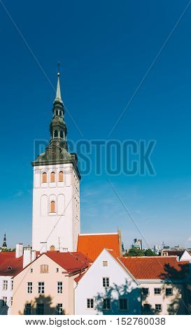 White Old Medieval Former St. Nicholas Church , Niguliste, In Tallinn, Estonia