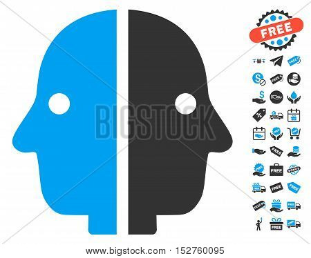 Dual Face pictograph with free bonus clip art. Vector illustration style is flat iconic symbols, blue and gray colors, white background.