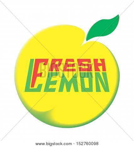 logo fresh lemon with leave on a white background