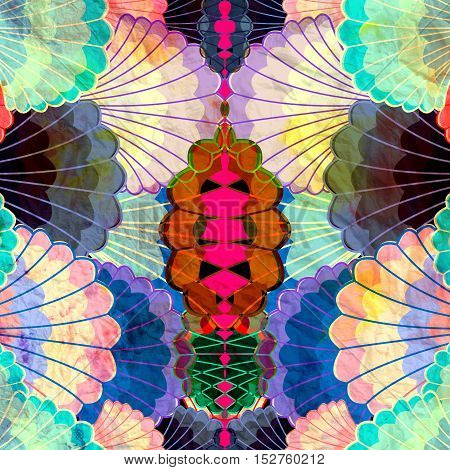 Watercolor multicolored abstract fantastic patterns on a dark background