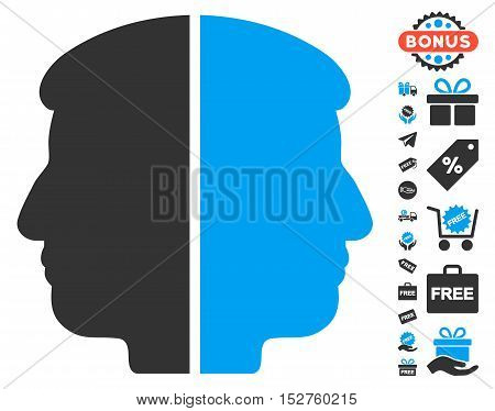 Dual Face pictograph with free bonus symbols. Vector illustration style is flat iconic symbols, blue and gray colors, white background.