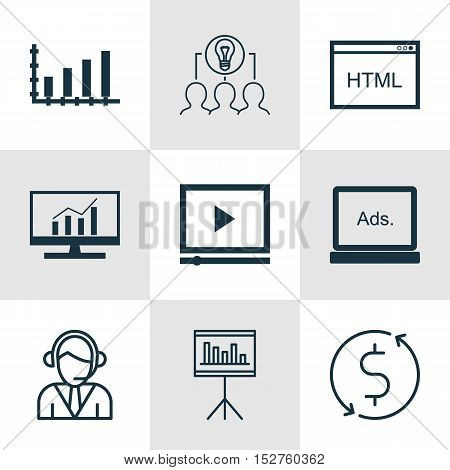 Set Of 9 Universal Editable Icons For Statistics, Advertising And Marketing Topics. Includes Icons S