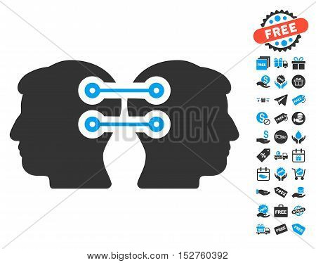 Dual Heads Interface Connection pictograph with free bonus clip art. Vector illustration style is flat iconic symbols, blue and gray colors, white background.