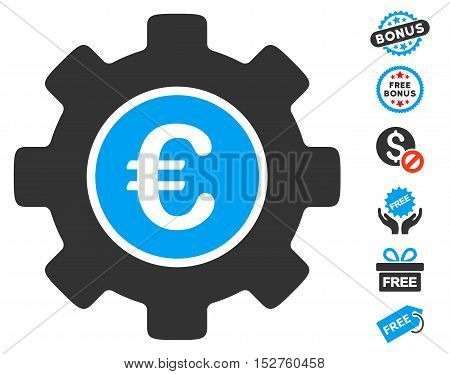 Euro Development Gear icon with free bonus pictures. Vector illustration style is flat iconic symbols, blue and gray colors, white background.