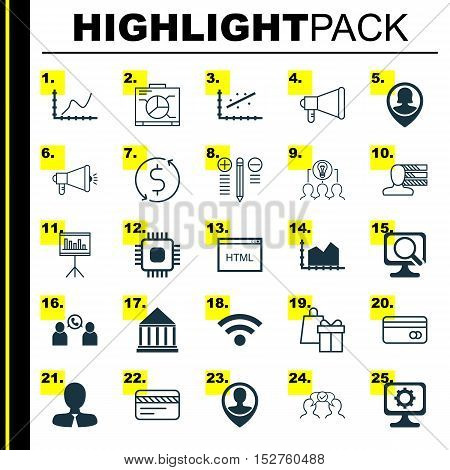 Set Of 25 Universal Editable Icons For Computer Hardware, Airport And Project Management Topics. Inc