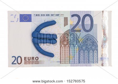 Plasticine euro icon and euro banknote isolated