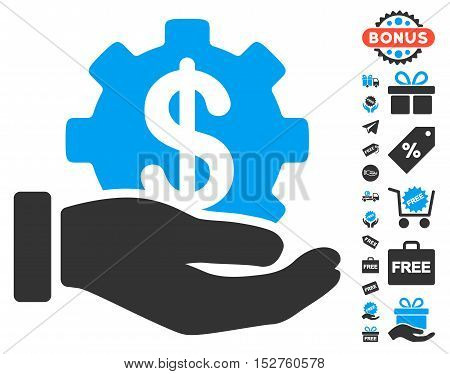 Financial Development Gear Hand pictograph with free bonus icon set. Vector illustration style is flat iconic symbols, blue and gray colors, white background.