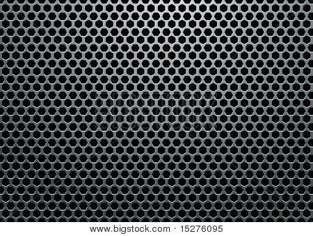 Silver metal background with hexagon holes and light reflection