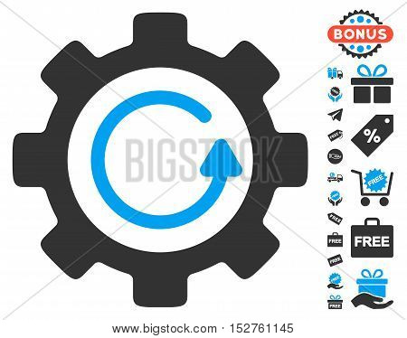 Gear Rotation Direction pictograph with free bonus symbols. Vector illustration style is flat iconic symbols, blue and gray colors, white background.