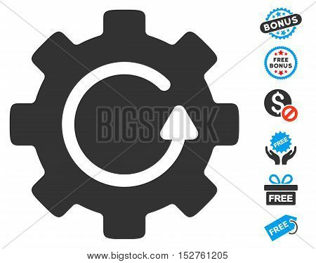 Gear Rotation pictograph with free bonus images. Vector illustration style is flat iconic symbols, blue and gray colors, white background.
