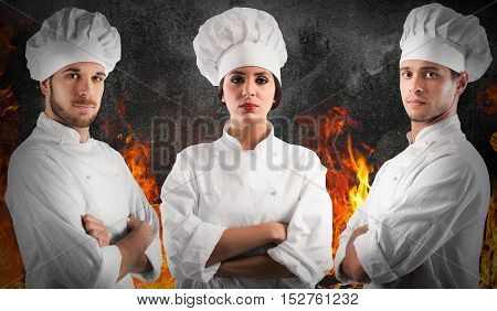 Professional chef woman and men with confident expressions with fire flames on background