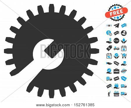 Gear Tools pictograph with free bonus symbols. Vector illustration style is flat iconic symbols, blue and gray colors, white background.