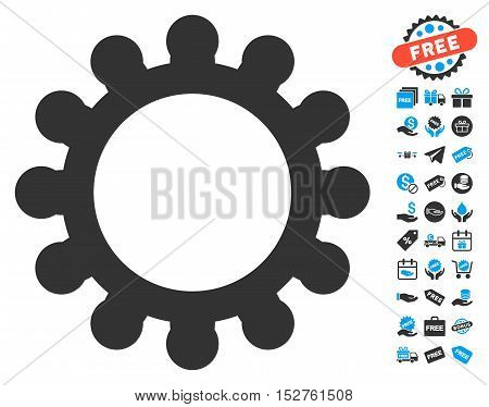Gear pictograph with free bonus pictures. Vector illustration style is flat iconic symbols, blue and gray colors, white background.