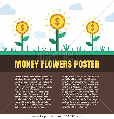 Money flowers (coins) vector illustration with place for your text. Template. Modern flat minimal style.
