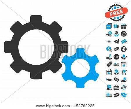 Gears pictograph with free bonus images. Vector illustration style is flat iconic symbols, blue and gray colors, white background.