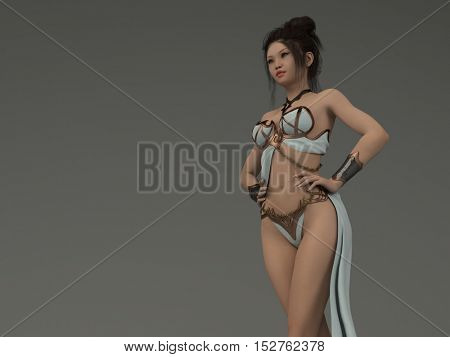 3d illustration of the youg asian girl wearing armor