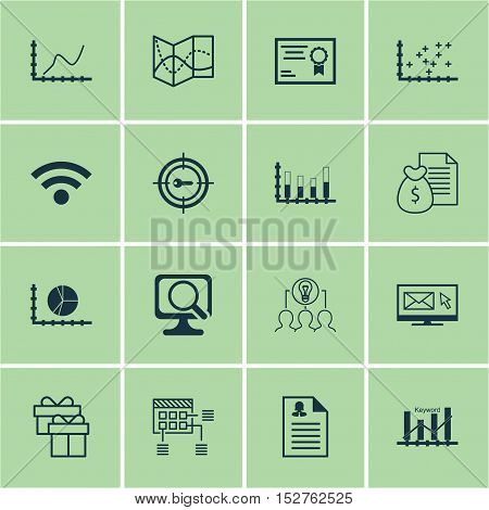 Set Of 16 Universal Editable Icons For Business Management, Computer Hardware And Advertising Topics
