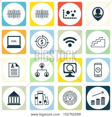 Set Of 16 Universal Editable Icons For Seo, Statistics And Education Topics. Includes Icons Such As