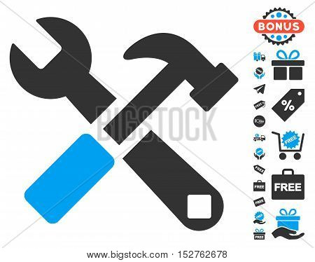Hammer and Wrench icon with free bonus images. Vector illustration style is flat iconic symbols, blue and gray colors, white background.