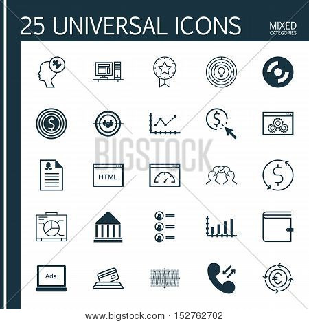 Set Of 25 Universal Editable Icons For Business Management, Travel And Advertising Topics. Includes