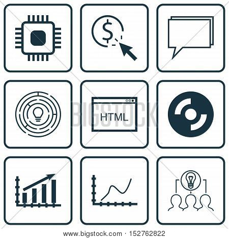 Set Of 9 Universal Editable Icons For Marketing, Project Management And Computer Hardware Topics. In