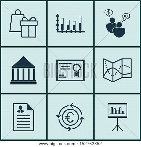 Set Of 9 Universal Editable Icons For Education, Project Management And Travel Topics. Includes Icon