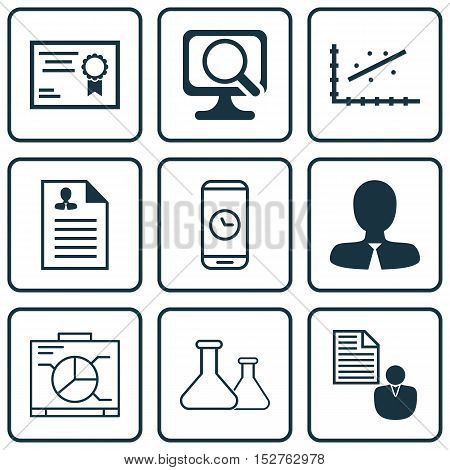 Set Of 9 Universal Editable Icons For Seo, Education And Statistics Topics. Includes Icons Such As R