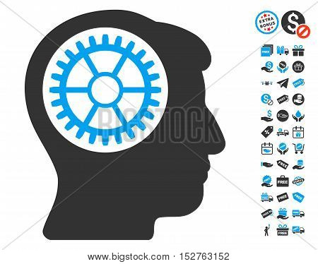 Head Cogwheel icon with free bonus design elements. Vector illustration style is flat iconic symbols, blue and gray colors, white background.