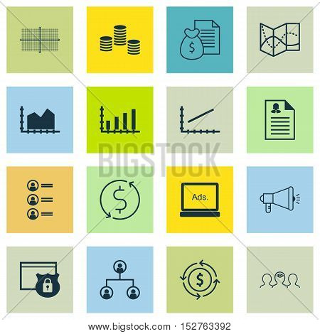 Set Of 16 Universal Editable Icons For Advertising, Business Management And Airport Topics. Includes