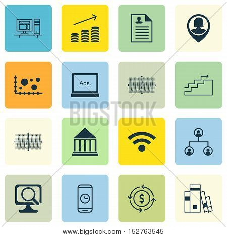 Set Of 16 Universal Editable Icons For Airport, Education And Seo Topics. Includes Icons Such As Edu