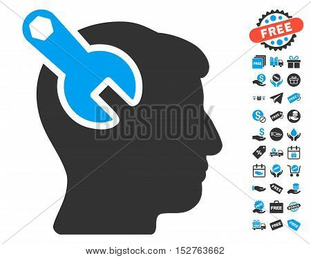 Head Neurology Wrench pictograph with free bonus design elements. Vector illustration style is flat iconic symbols, blue and gray colors, white background.