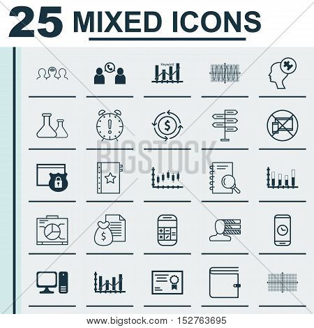 Set Of 25 Universal Editable Icons For Business Management, Marketing And Travel Topics. Includes Ic