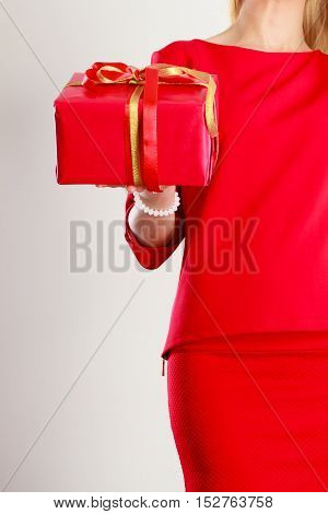 Part Body Lady With Red Gift.