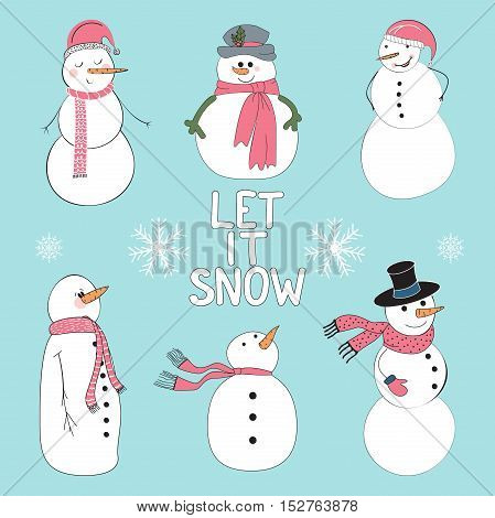 Snowman set for a Happy New Year and Merry Christmas. Elements are layered separately in vector file.
