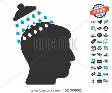 Head Shower pictograph with free bonus graphic icons. Vector illustration style is flat iconic symbols, blue and gray colors, white background.