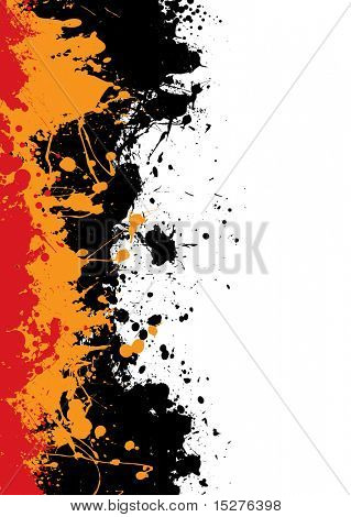 Grunge ink splat background with orange and red paint