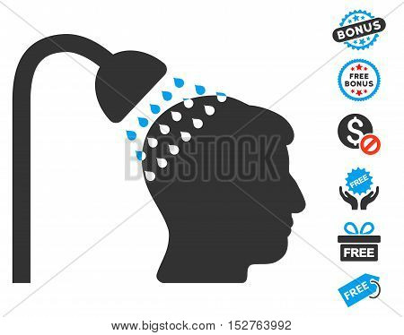 Head Shower pictograph with free bonus icon set. Vector illustration style is flat iconic symbols, blue and gray colors, white background.