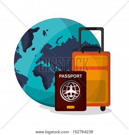 Planet passport and bag icon. Airport travel trip vacation and tourism theme. Colorful design. Vector illustration