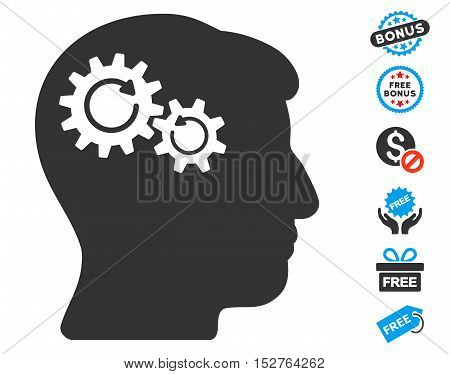 Head Wheels Rotation pictograph with free bonus pictures. Vector illustration style is flat iconic symbols, blue and gray colors, white background.