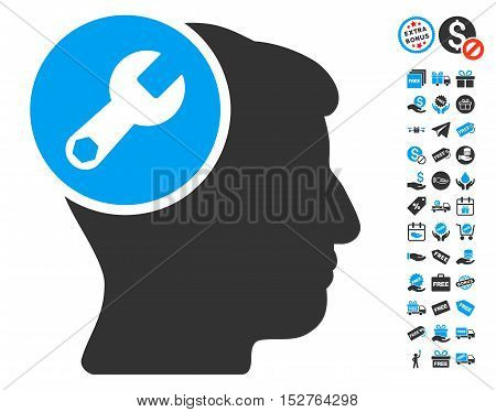 Head Wrench Repair icon with free bonus images. Vector illustration style is flat iconic symbols, blue and gray colors, white background.