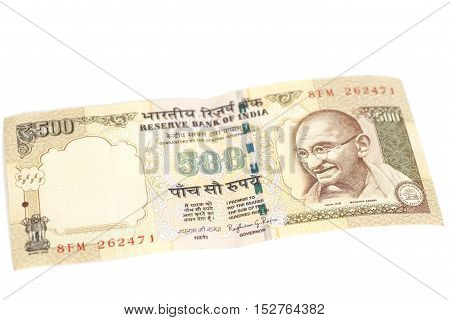 Five hundred rupee note (Indian currency) isolated on white background.